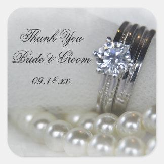 Die Wedding Diamant-Ring-Perlen danken Ihnen, Quadratischer Aufkleber