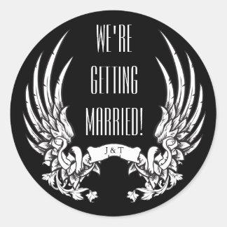 Die Wedding Engels-Flügel laden Umschlag-Aufkleber Runder Aufkleber