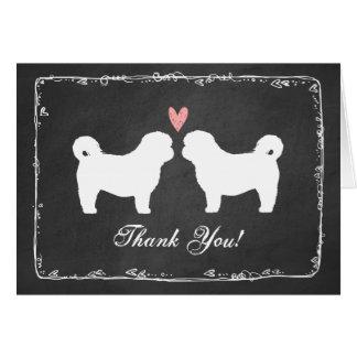 Die Wedding HundeSilhouetten Shih Tzu danken Ihnen Mitteilungskarte