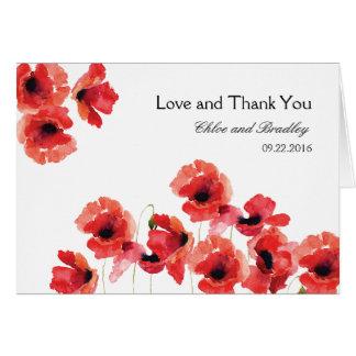 Die Wedding Mohnblumen-Blumen danken Ihnen zu Karte