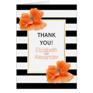 Die wedding Mohnblumen und Schwarz-weiße Streifen Karte