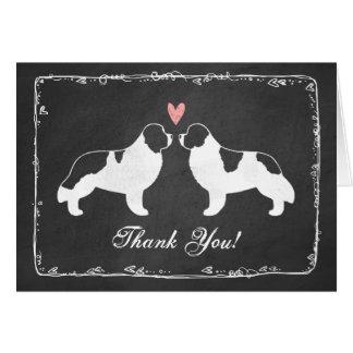 Die Wedding Neufundland-HundeSilhouetten danken Karte