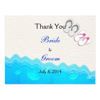 Die Wedding Strand-Sandalen danken Ihnen Postkarte