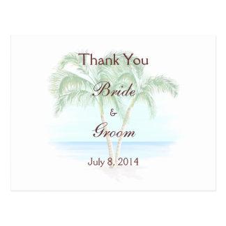 Die Wedding Strand-und Palmen danken Ihnen Postkarte