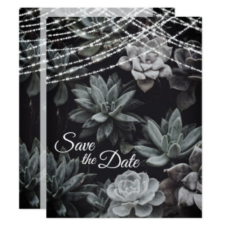 Die Wedding Succulents und Lichter Save the Date Karte