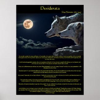 Die weißen Desiderata wolfs auf einem Poster