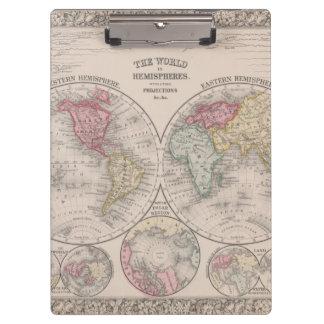 Die Welt 1860 - Ost- u. Westernhemisphären Klemmbrett