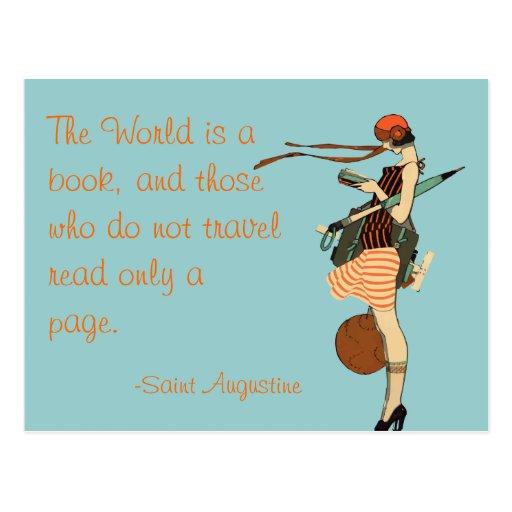 Die Welt ist ein Buch Postkarte