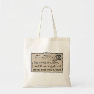 """""""Die Welt ist ein Buch-"""" Vintage Reise-Tasche Tragetasche"""