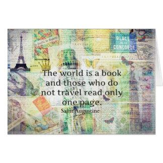 Die Welt ist ein Buchreisezitat Grußkarte