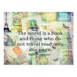 Die Welt ist ein Buchreisezitat Postkarte