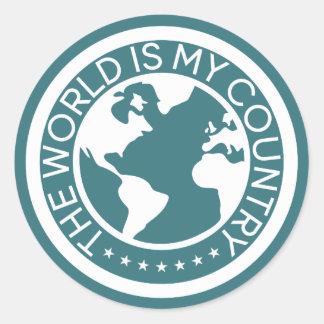 Die Welt ist mein Land-Aufkleber Runder Aufkleber