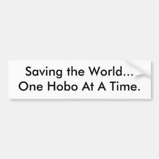 Die Welt retten… Ein Hobo auf einmal. Autoaufkleber