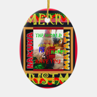Die Welt um mich ist glücklich, Sie zu haben färbt Ovales Keramik Ornament