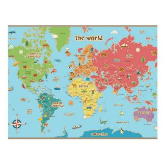 Die Weltkarte mit Grafiken Postkarten