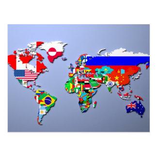 Die Weltkarte mit ihren Flaggen Postkarte