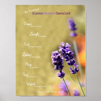 Die wesentliche Sommer-Garten-Checkliste Poster