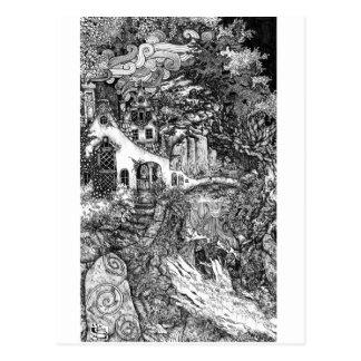 Die Wohnung; Federillustration Postkarte