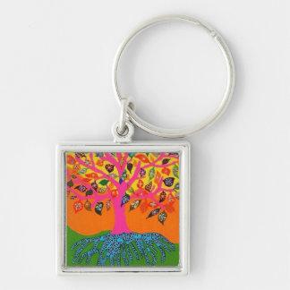 Die Wurzel des Wissens-Baums von Leben keychain Silberfarbener Quadratischer Schlüsselanhänger