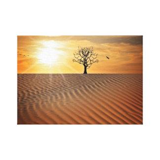 Die Wüsten-Oasen-Landschaft am Leinwanddruck