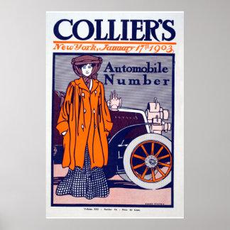Die Zeitschrift-Automobil-Plakat des Bergmannes Poster