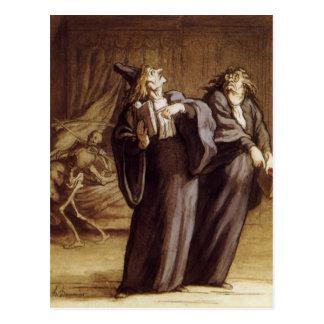 Die zwei Doktoren und Tod durch Honore Daumier Postkarte