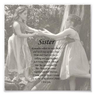 Die zwei kleine Mädchen-Schwester danken Ihnen Fot Foto Druck