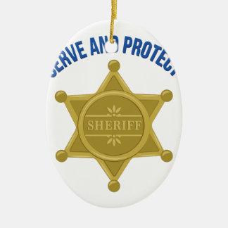 Dienen Sie und schützen Sie sich Keramik Ornament