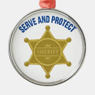 Dienen Sie und schützen Sie sich Silbernes Ornament