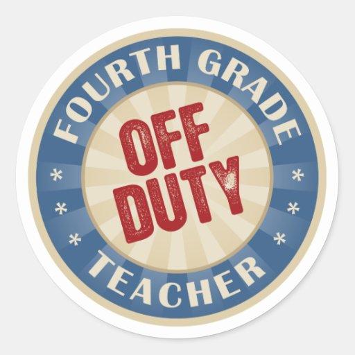 Dienstfreier vierter Grad-Lehrer Runder Sticker