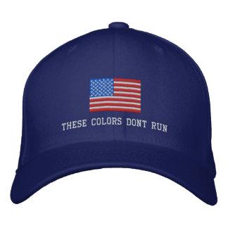 Diese Farben lassen nicht Hut, amerikanische Flagg Bestickte Mützen