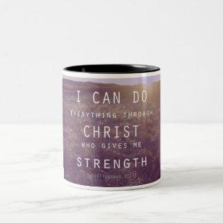 Diese Kaffee-Tasse hat ein schönes Bibelzitat Zweifarbige Tasse