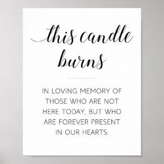 Diese Kerze brennt Erinnerungshochzeits-Zeichen Poster