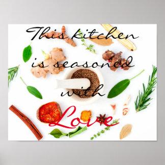 Diese Küche wird mit Liebe gewürzt Poster
