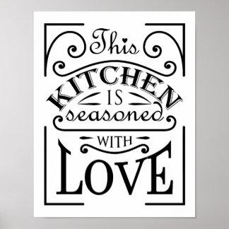 Diese Küche wird mit Liebezitatentwurf gewürzt Poster