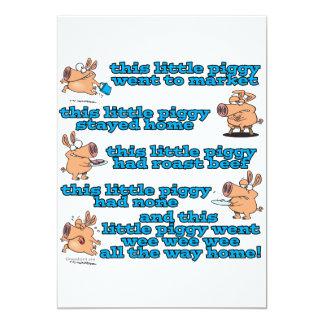 dieser kleine piggy Kinderzimmerreim-Cartoon Personalisierte Einladungskarte