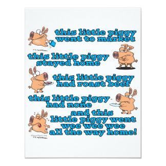 dieser kleine piggy Kinderzimmerreim-Cartoon Personalisierte Einladungskarten