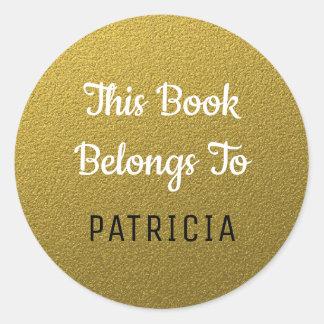Dieses Buch gehört Bookplates Gold Glitzer Runder Aufkleber