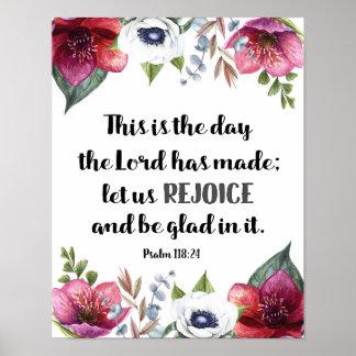 Dieses ist der Tag, den der Lord Marsala Blumen Poster
