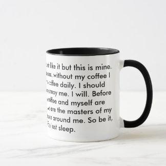 Dieses ist mein Kaffee, den dieses mein Gewehr ist Tasse