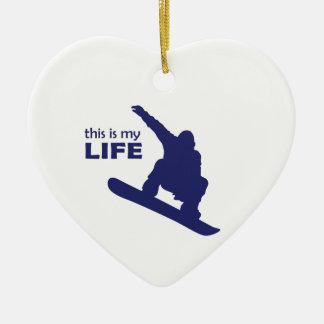 Dieses ist mein Leben (Snowboarding) Keramik Herz-Ornament