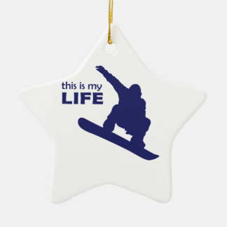 Dieses ist mein Leben (Snowboarding) Keramik Stern-Ornament