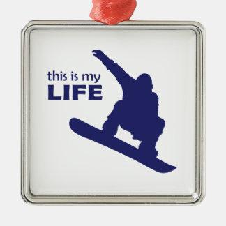 Dieses ist mein Leben (Snowboarding) Quadratisches Silberfarbenes Ornament