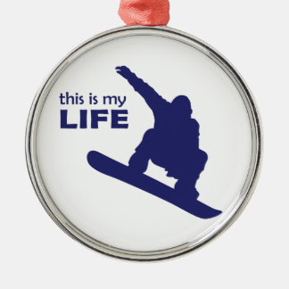 Dieses ist mein Leben (Snowboarding) Rundes Silberfarbenes Ornament