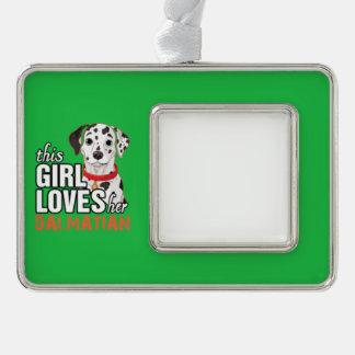 Dieses Mädchen-Lieben ihr Dalmatiner Rahmen-Ornament Silber
