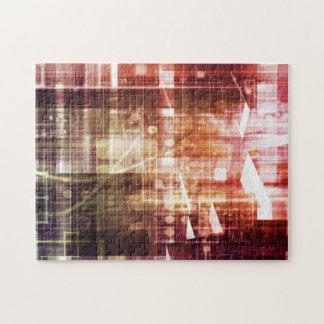 Digital-Bilder mit Datennetz-Übergangskunst Puzzle