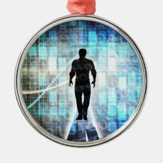 Digital-Bildung als Technologie-Konzept Silbernes Ornament