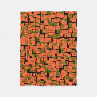 Digital-Camouflage-Grün-orange schwarzes Muster Fleecedecke