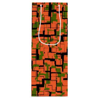 Digital-Camouflage-Grün-orange schwarzes Muster Geschenktüte Für Weinflaschen