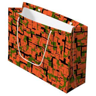 Digital-Camouflage-Grün-orange schwarzes Muster Große Geschenktüte